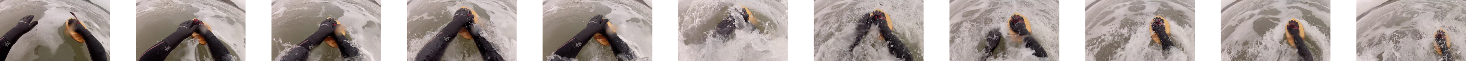 Photo sequence of bodysurfing at Newgale with Sakura Workshop Bodysurf Handplane