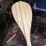 Tapered blade shaping on Wooden Stand Up Paddleboard Paddle, handmade in Pembrokeshire, Wales, UK - Buy online