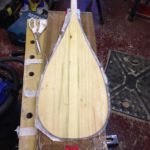 Fibre glassing 6mm blade on a Wooden Stand Up Paddleboard Paddle, handmade in Pembrokeshire, Wales, UK - Buy online