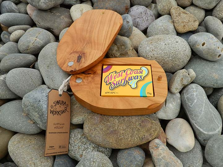 Cherry wood Surfwax holder handmade in Pembrokeshire Wales Buy online
