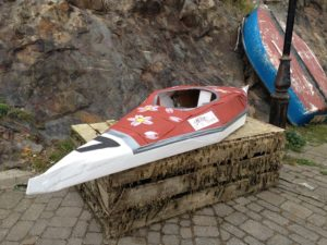Sakura Workshops Cardboard Kayak ready for launching at Fishguard, Pembrokeshire, Wales