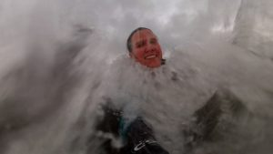 November bodysurf, starting to get chilly but still smiling, Newgale beach, Pembrokeshire, Wales