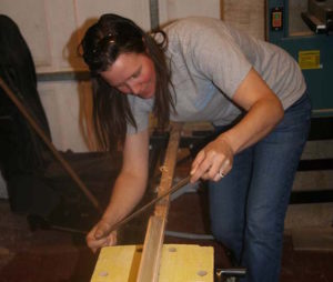 Shaping the shaft of the Canoe Paddle using a draw knife, the traditional methods are the most satisfactory